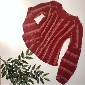 Free People Striped Linen Blouse